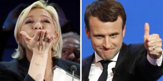 I candidati al ballottaggio Marine Le Pen e Emmanuel Macron.