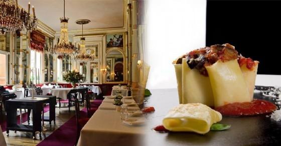 Interno del ristorande Del Cambio e piatto del ristorante Vintage 1997