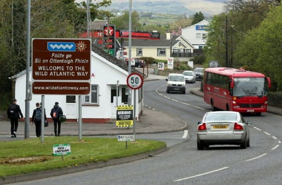 Brexit posters are seen at the border crossing at Muff in Co Donegal near Lough Foyle, on the border with Northern Ireland and Donegal in the Republic of Ireland