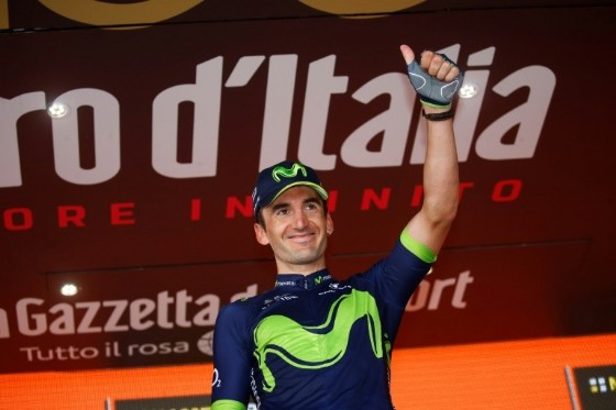 Spain's Gorka Izagirre of team Movistar celebrates on the podium after winning the 8th stage of the 100th Giro d'Italia, Tour of Italy, cycling race from Molfetta to Peschici on May 13, 2017