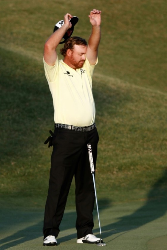 J.B. Holmes of the US, seen on the 18th green during the third round of The Players Championship, at TPC Sawgrass in Ponte Vedra Beach, Florida, on May 13, 2017