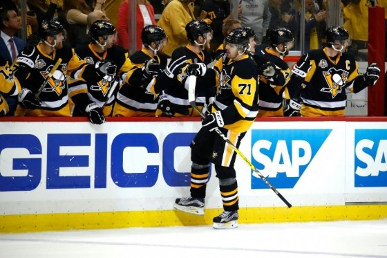 Evgeni Malkin of the Pittsburgh Penguins celebrates with teammates after scoring a goal against the Ottawa Senators in Game One of the NHL Eastern Conference Final, at PPG PAINTS Arena in Pittsburgh, Pennsylvania, on May 13, 2017