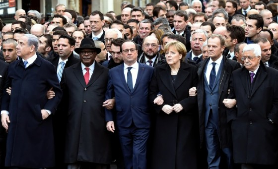French President Francois Hollande was joined by dozens of foreign leaders in a march of solidarity in Paris following the deadly jihadist attack on the Charlie Hebdo satirical weekly in 2015