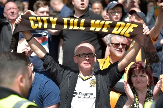 Hull City fans on May 14, 2017, the day their team is relegated from the Premier League