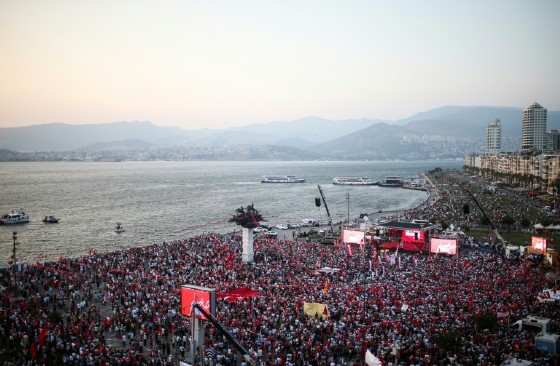People gather for a rally in Gundogdu Square in Izmir on August 4, 2016, protesting against the failed July 15 military coup attempt