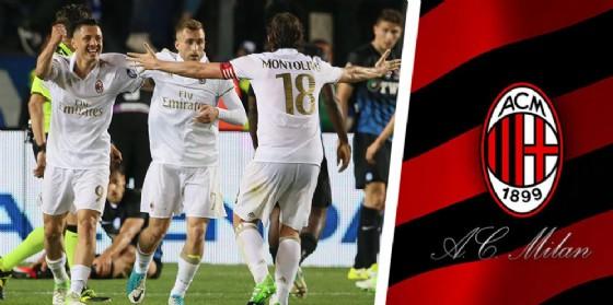 L'esultanza del Milan dopo il pareggio di Bergamo