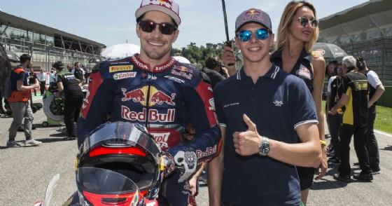 Fabio Di Giannantonio sulla griglia di partenza di Imola con Nicky Hayden (© Gresini)