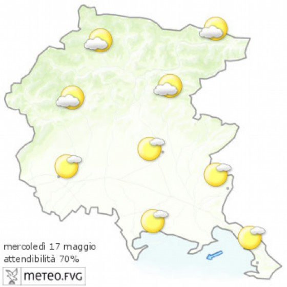 Le previsioni meteo per mercoledì 17 maggio (© Osmer Fvg)