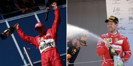 Michael Schumacher sul podio nel 2004 e Sebastian Vettel nel 2017 (© Ferrari)
