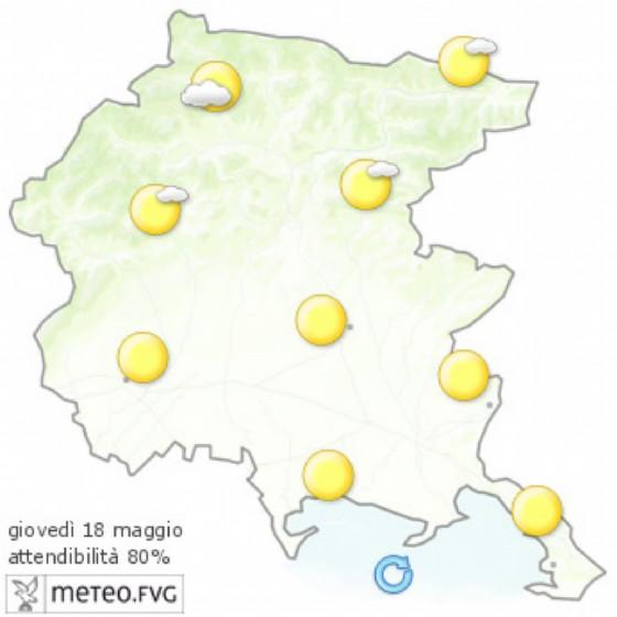 Le previsioni meteo per giovedì 18 maggio (© Osmer Fvg)