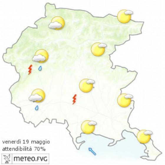 Le previsioni meteo per la giornata di venerdì (© Osmer Fvg)