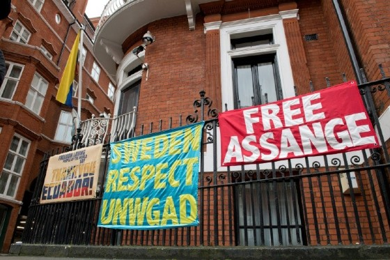 Banners supporting WikiLeaks founder Julian Assange outside the Ecuadoran embassy in London where he has been holed up since 2012
