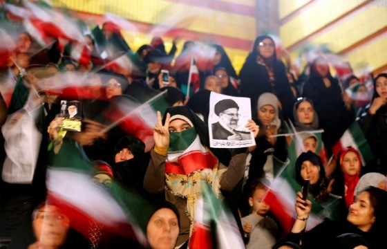 Supporters of Iranian presidential election candidate Ebrahim Raisi attend a campaign rally in the capital Tehran on April 29, 2017