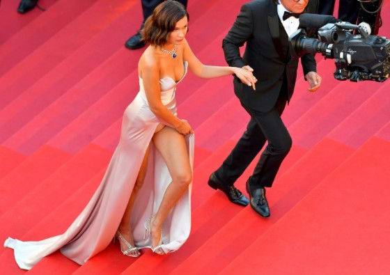 US model Bella Hadid wore a daring dress by Alexandre Gauthier for Cannes' opening gala