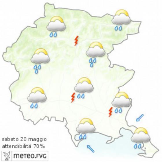 Le previsioni meteo per la giornata di sabato (© Osmer Fvg)