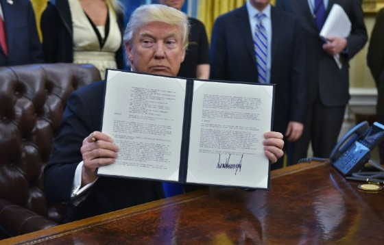 Trump holds an executive memorandum on defeating the Islamic State in Iraq and Syria in January. He has made fighting the jihadist group a top priority.