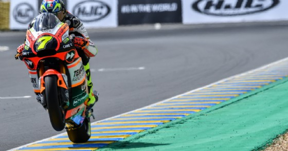 Lorenzo Baldassarri in azione nelle libere a Le Mans