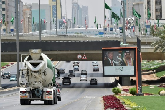 A giant billboard bearing portraits of US President Donald Trump and Saudi Arabia's King Salman, is seen on a main road in Riyadh