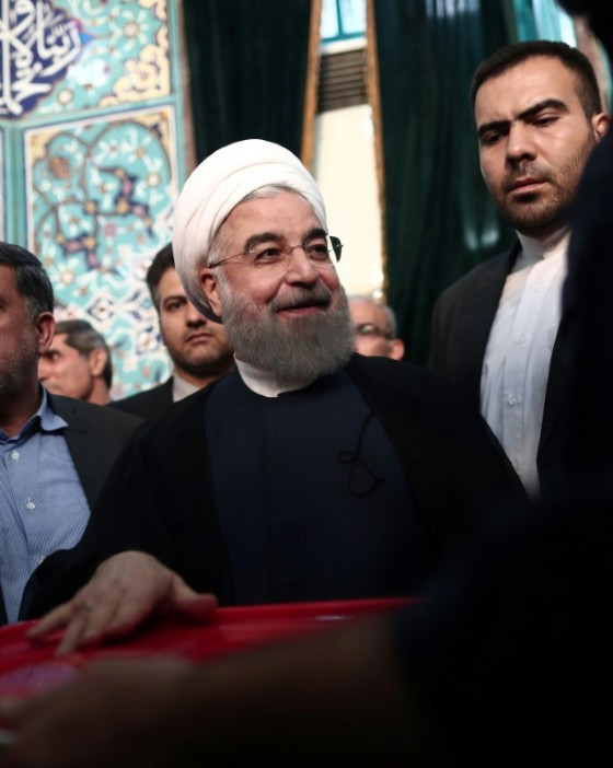 Iranian President Hassan Rouhani, who initial results suggest has comfortably won re-election, casts his vote in Tehran on May 19, 2017