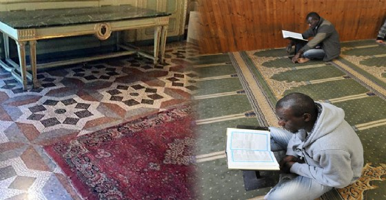 Tradizionale tappeto della preghiera - Moschea di via Saluzzo (© Ansa Foto)