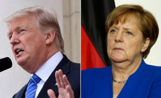 La cancelliera Angela Merkel e il presidente americano Donald Trump.