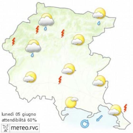 Che tempo farà lunedì 5 giugno? Ve lo dice l'Osmer Fvg (© Osmer Fvg)