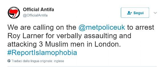 Il tweet incriminato dell'account Official Antifa