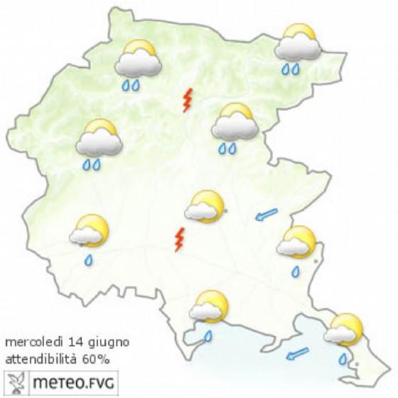 Che tempo farà mercoledì 14 giugno? Ve lo dice l'Osmer Fvg (© Osmer Fvg)