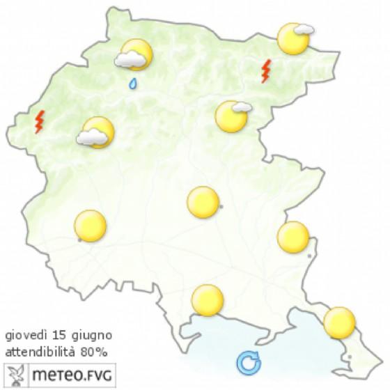 Che tempo farà giovedì 15 giugno? Ve lo dice l'Osmer Fvg (© Osmer Fvg)