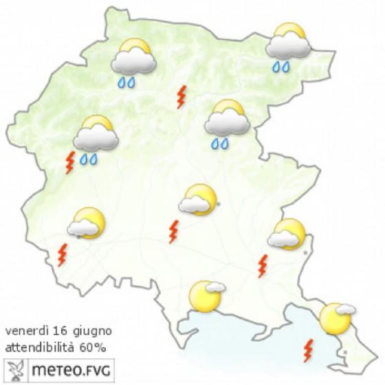 Che tempo farà venerdì 16 giugno? Ve lo dice l'Osmer Fvg (© Osmer Fvg)
