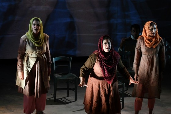 Kamala Sankaram (C) portrays Pakistani women's rights activist Mukhtar Mai in the opera 'Thumbprint', at the Roy and Edna Disney/Calarts Theater (REDCAT) in Los Angeles, on June 16, 2017