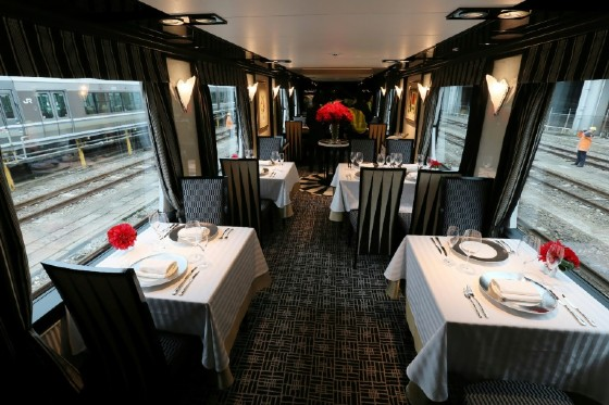 The dining car on Japan's latest super-deluxe train Twilight Express Mizukaze where passengers can enjoy food prepared by gourmet chefs
