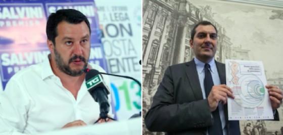 Il leader della Lega Nord, Matteo Salvini e accanto il direttore di Repubblica Mario Calabresi