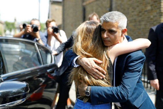 Sadiq Khan comforted people who had lost loved ones in the fire