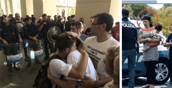 La protesta dei parenti e amici di Oreste Giagnotto sotto la Prefettura e la foto della rom evasa (© Irene Famà/Ansa)