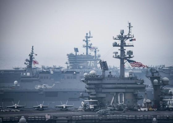 Washington has some 28,000 troops deployed in South Korea and has a naval armada in the region