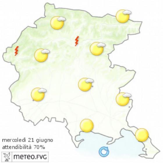 Che tempo farà mercoledì 21 giugno? Ve lo dice l'Osmer Fvg (© Osmer Fvg)
