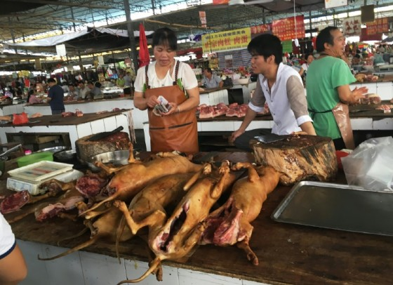 Vendors stand behind a pile of dog meat at the Nanqiao market in Yulin
