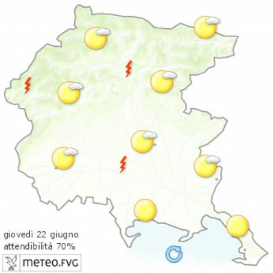Che tempo farà giovedì 22 giugno? Ve lo dice l'Osmer Fvg (© Osmer Fvg)