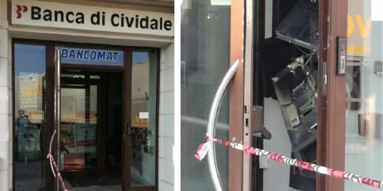 Assalto al bancomat dellaBanca popolare di Cividale (© Diario di Udine)