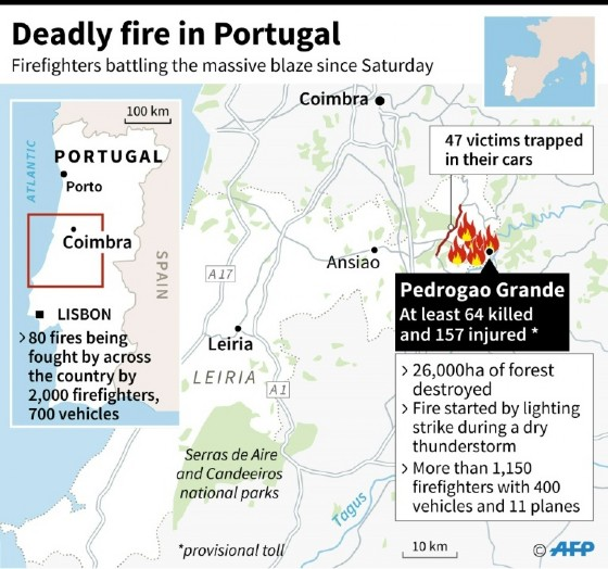 Deadly forest fire rages in Portugal