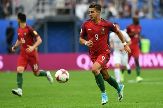 Portugal's forward Andre Silva runs with the ball during the 2017 Confederations Cup group A football match against New Zealand June 24, 2017