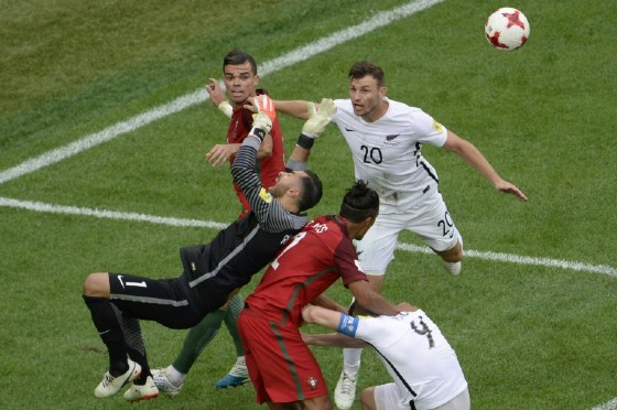 (From L) Portugal's defender Pepe, goalkeeper Rui Patricio and defender Bruno Alves vie with New Zealand's defender Tommy Smith (R) and forward Chris Wood during the 2017 Confederations Cup football match June 24, 2017