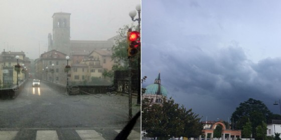 Da Pradamano a Cividale pioggia e grandine: già alcuni paesi sott'acqua (© A sinistra O.C. | a destra Diario di Udine)