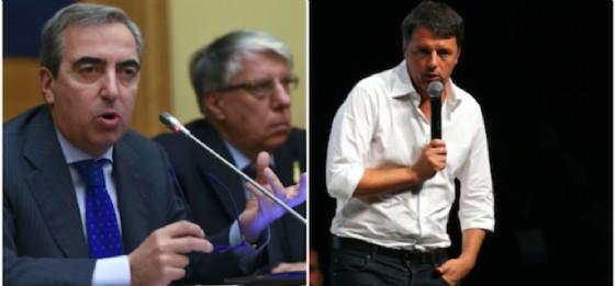 Il vicepresidente del Senato Maurizio Gasparri e accanto il segretario del Pd Matteo Renzi