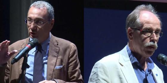 Sergio Bolzonello e Gianni Torrenti alla presentazione del cartellone di prosa e musica del Teatro Verdi, stagione 2017/2018 (© Foto Produzioni Tv Regione Fvg)