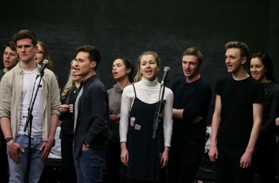 "Students rehearse a production alongside a band called ""band call"" at The Royal Central School of Speech and Drama in London's West End"