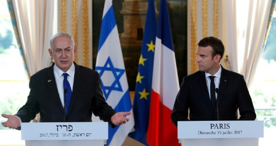 French President Emmanuel Macron called for a resumption of Middle East peace talks when he met Israeli Prime Minister Benjamin Netanyahu in Paris