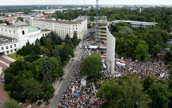 Around 4,500 people joined the rally in Warsaw in front of the parliament which this week passed two controversial court reform bills that opponents say threaten judicial independence