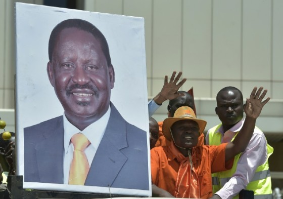 Supporters of presidential candidate Raila Odinga rally in Kenya's capital Nairobi